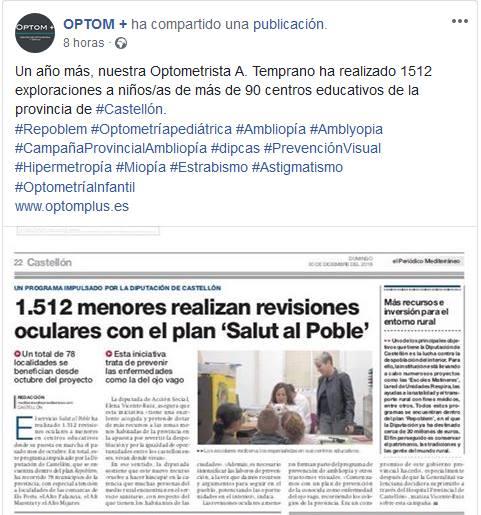 CAMPAÑA PROVINCIAL DE PREVENCIÓN DE AMBLIOPÍA Y OTRAS ANOMALÍAS VISUALES EN LA PROVINCIA DE CASTELLÓN